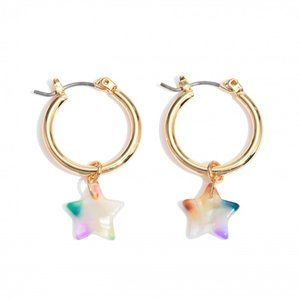 White Multi Color Acrylic Star Gold Hoops